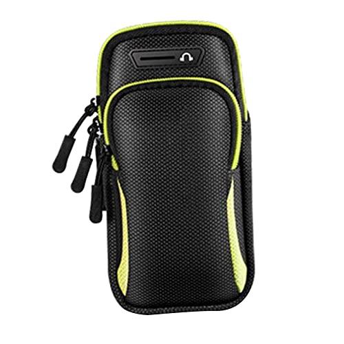 B Blesiya Multifuncional para Deportes al Aire Libre Running Brazo Brazalete Bolsa de teléfono móvil Gimnasio Brazalete Soporte Bolsa de muñeca Almacenamiento - Negro Verde