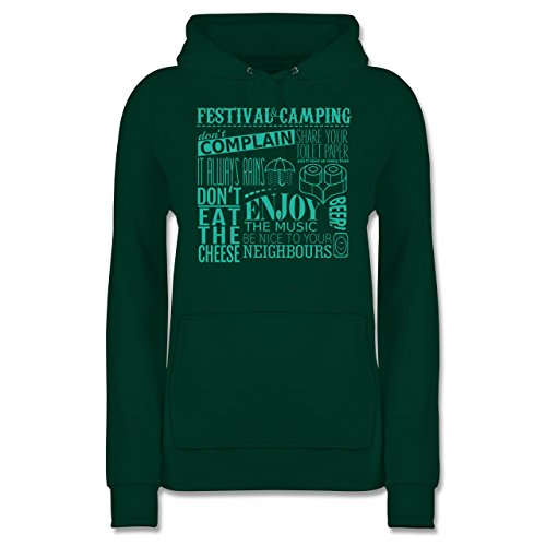 Festival - Festival Camping Lettering - L - Dunkelgrün - Party - JH001F - Damen Hoodie und Kapuzenpullover für Frauen