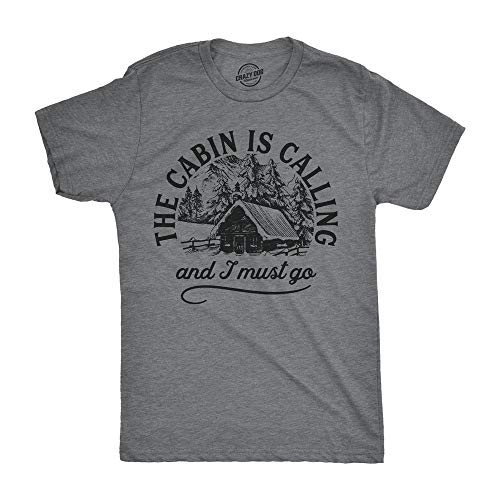Mens The Cabin is Calling And I Must Go T Shirt Happy Camper Graphic Camping Negro 3XL
