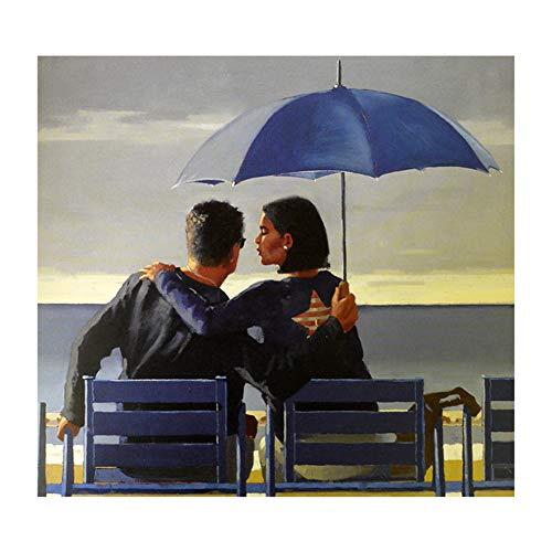 sjkkad Blau Blau Von Jack Vettriano Cuadros Malerei Gedruckt Kunst Grafik Leinwand Malerei Dekoration Für Schlafzimmer Poster-50x50 cm Kein Rahmen