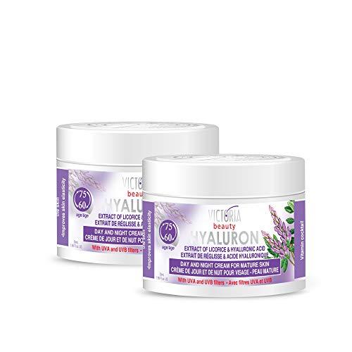 Victoria Beauty - Anti Aging Hyaluron Creme gegen Falten und Augenringe, Gesichtscreme mit Hyaluronsäure, Süßholzextrakt und Vitamin Complex für Frauen und Männer ab 60 (2 x 50 ml)