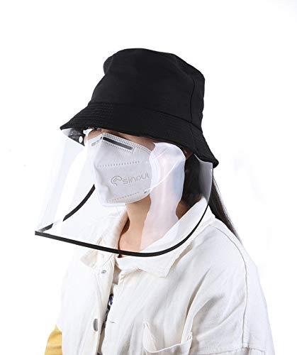 AGM Sombrero antiniebla unisex, gorro de protección para la cabeza, gorro de pescador con visera transparente, protección contra los rayos UV, protección facial, sombrero de protección contra el polvo