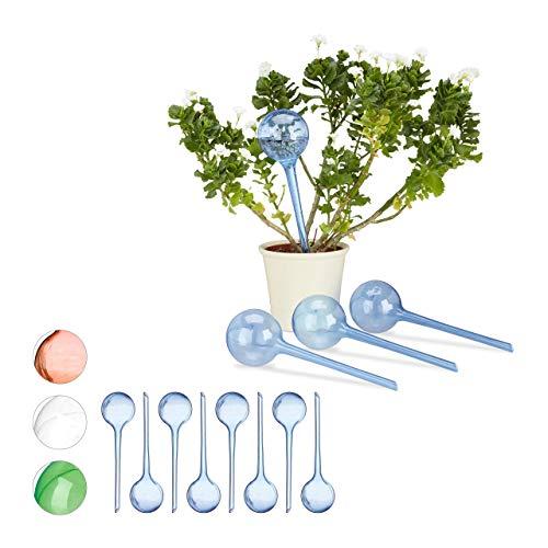 Relaxdays 12 x Bewässerungskugeln im Set, Dosierte Bewässerung, 2 Wochen, Versenkbar, Deko, Topfpflanzen, Kunststoff, blau