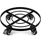 Amagabeli 14' Metal Plant Caddy Heavy Duty Iron Potted Plant Stand with Wheels Round Flower Pot Rack on Rollers Dolly Holder on Wheels Indoor Outdoor Planter Trolley Casters Rolling Tray Coasters