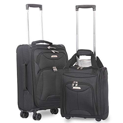 Aerolite 21 Inch Carry On Lightweight 4 Wheel Spinner Suitcase & Under Seat Bag Set