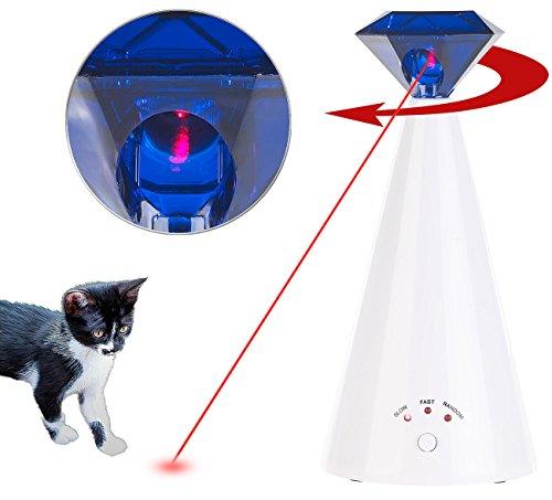 Sweetypet Katzenspielzeug: Automatische Licht-Katzenangel zur Förderung des Jagd-Instinkts (Katzen Laserpointer automatisch)
