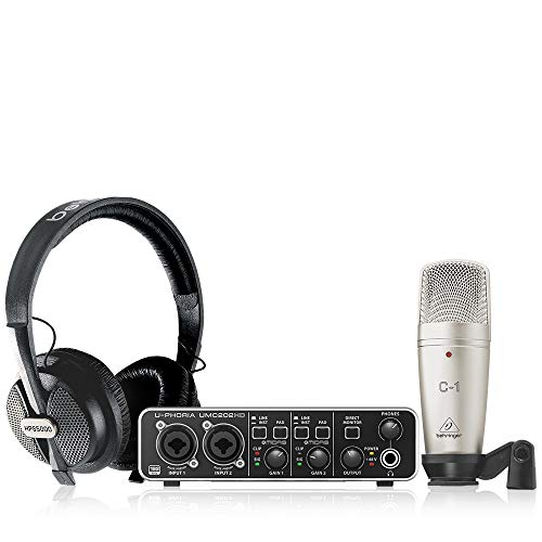 Behringer U-PHORIA STUDIO PRO Bundle di Registrazione con Interfaccia Audio USB ad alta Definizione, Microfono a Condensatore, Cuffie da Studio
