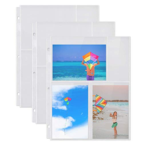 Dunwell Photo Album Refill Pages - (4x6 Mixed Format, 100 Pack) for 600 Photos, 3-Ring Binder Photo Pockets, Each Photo Page Holds Four 4 x 6 Pictures, Postcard Sleeves, Archival Photo Sleeves 4x6