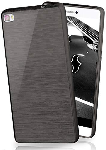 MoEx® Funda de Silicona con Aspecto Aluminio Cepillado Compatible con Huawei P8 Lite 2015 en Noir