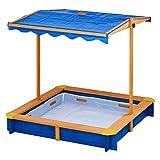 Teamson Kids - Sabbiera in legno di cedro per esterni con baldacchino convertibile Playset per bambini per esterno con baldacchino regolabile e regolabile in altezza - legna/blu