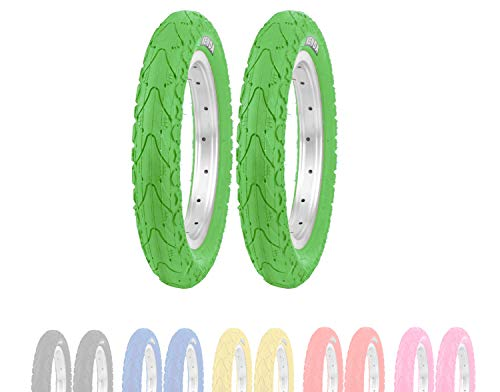 P4B | 2X neumáticos para niños de 12 Pulgadas (62-203) | 2X Cubiertas Verde | 12 1/2 x 2 1/4 | con trabilla Central Ancha para Mayor Estabilidad Durante la conducción