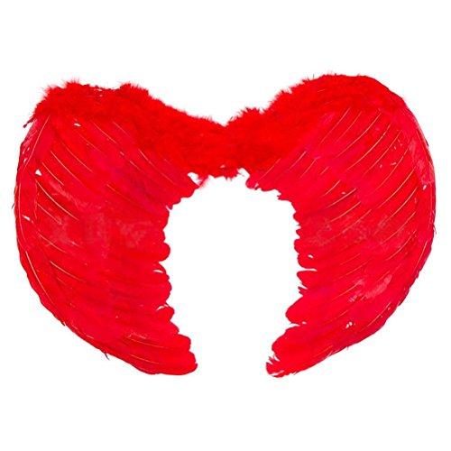 OULII Alas de Angel Disfraz Alas de Plumas Rojo 60x45cm