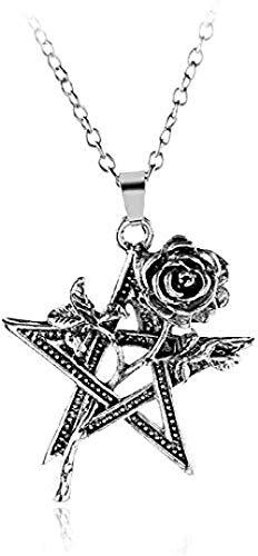 DUEJJH Co.,ltd Collar con Dije de Moda clásica Unisex Colgante Collar con Colgante de Estrella de Cinco Puntas a Juego fácil