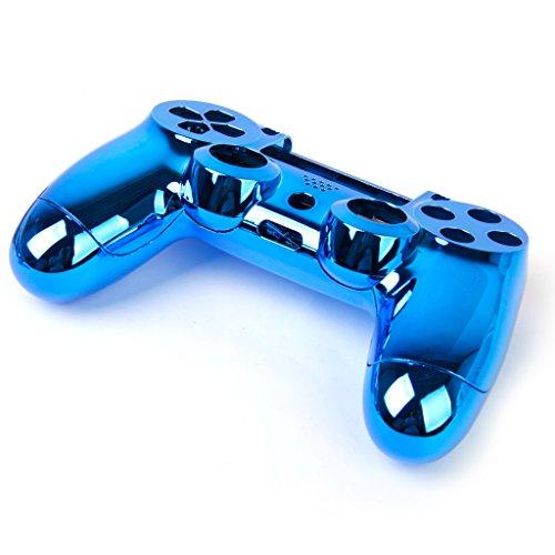 B Baosity Bleu + étui Coque De Boîtier D'argent Kit De Couverture Pour Le Contrôleur Sony PS4 Sans Fil
