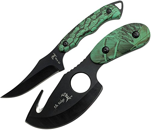 Elk Ridge - Outdoors 2-PC Fixed Blade Hunting Knife Set - Black Stainless Steel Skinner and Gut Hook Blades, Camo Coated Nylon Fiber Handles, Nylon Sheath - Hunting, Camping, Survival - ER-300CA