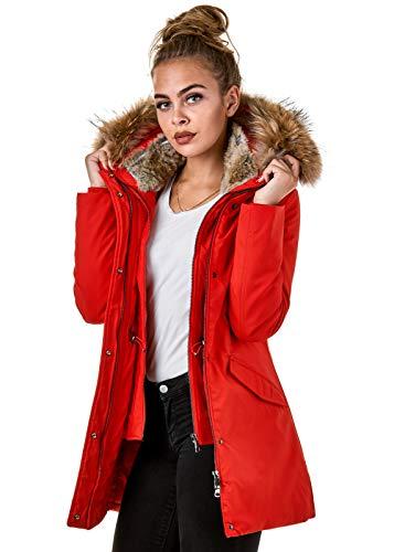 BR1837 dames winterjas echt bont parka jas zwart rood roze crème