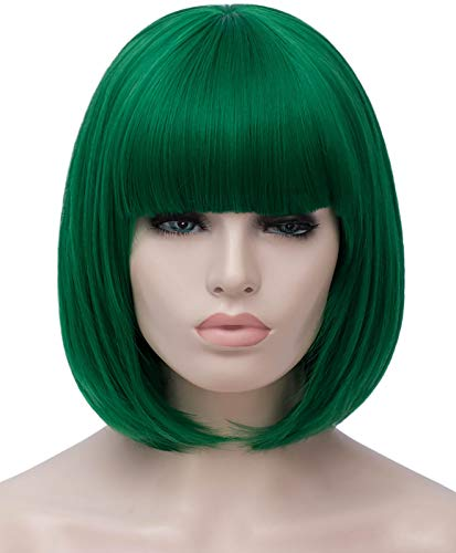 Bopocoko Short Green Wigs for Women, 12'' Green Bob Hair Wig with Bangs, Natural Fashion Synthetic Full Wig, Cute Colored Wigs for St.Patrick's Day Daily Party Cosplay Halloween BU027GR
