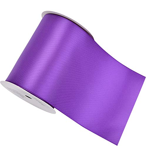 YAMA Double Face Satin Ribbon Roll - 4 inch Wide Solid Color Craft Ribbon, Great for Chair Sash,Making Bow, Sewing and Wedding Bouquet- 5 Yard/Spool, Purple