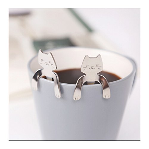 Lalang 2pcs Stainless Steel Cute Cat Coffee Spoon Tea Hanging Cup Spoon (Silver)