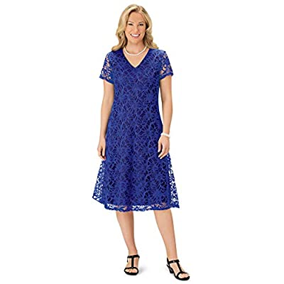 Collections Etc Women's V Neck All Lace Short Sleeve Dress Royal Blue Small