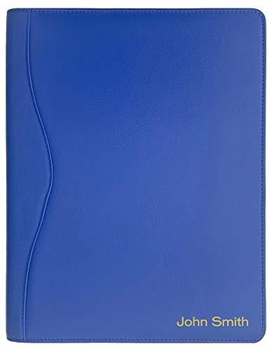 Personalized Premium Genuine Leather Portfolio Folder, Padfolio for Men and Women, with Business Card Holder, Pockets, Pen Loop, Document Organizer - Cobalt Blue