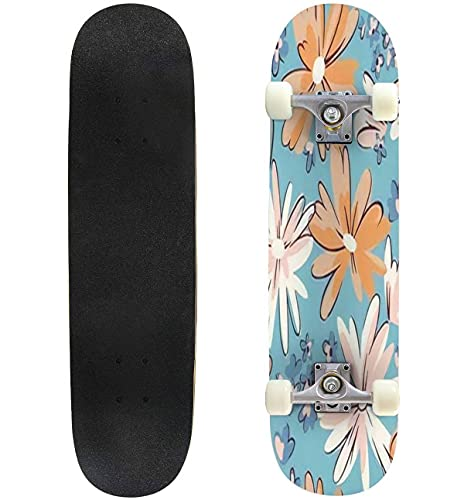 """Seamless Pattern with Daisies Mixed Small and Large Blooming Flower Skateboard 31""""x8"""" Double-Warped Skateboards Outdoor Street Sports Skateboard for Beginners Professionals Cool Adult Teen Gifts"""