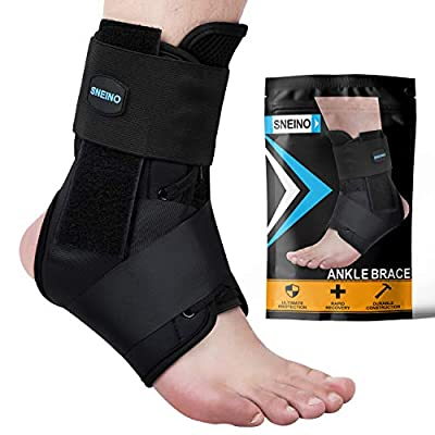 SNEINO Ankle Brace,Lace Up Ankle Brace for Women?Ankle Brace for Men,Ankle Brace Stabilizer,Ankle Brace for Sprained Ankle,Ankle Braces, Volleyball Ankle Braces,Ankle Supports for Women (X-Large)