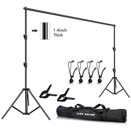 Slow Dolphin Photo Video Studio 12ft (W) x 10ft (H) Heavy Duty Adjustable Photography Backdrop Stand Background Support System Kit with Carry Bag