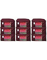 "Kuber Industriesâ""¢ Non Woven Saree Cover/Saree Bag/Storage Bag Set of 9 Pcs (Maroon) 90 GSM Fabric (Can Keep Upto 15 Sarees)"