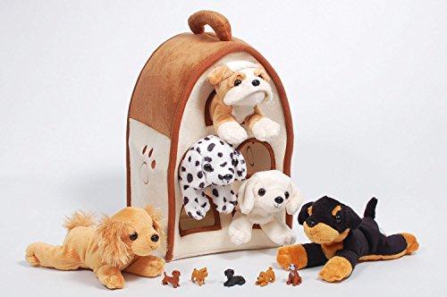 Special Edition Unipak 12' Plush Dog House with 5 Stuffed Animal Dogs Featuring a Bulldog and 5 Bonus Mini Dog Figures