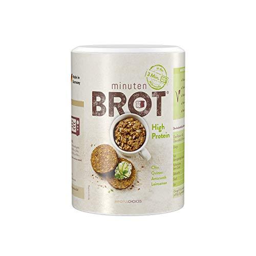 Minutenbrot High Protein Brotbackmischung | 3·2·1 Brot ist fertig | 480g Mischung für 6 Brote á ca. 140g: Natürlich, Kohlehydratarm, Ballaststoffreich, Hefe- und Laktosefrei, ohne Konservierungsstoffe