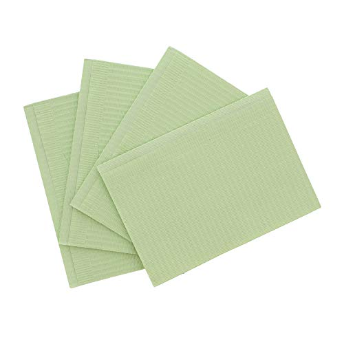 MonMed Large Dental Bibs Disposable 500 Pack in Green - Disposable Patient Bibs Dental Napkins, Dental Paper Bibs, Green