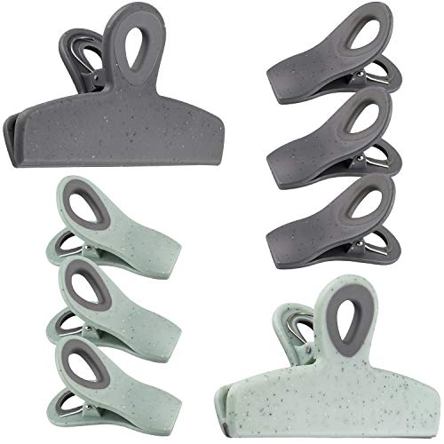 Cook with Color Set of Eight Bag Clips 2 Large Heavy Duty Chip Clips and 6 Refrigerator Magnet Clips for Food Storage with Air Tight Seal Grip for Snack Bags and Food Bags Speckled Gray amp Teal