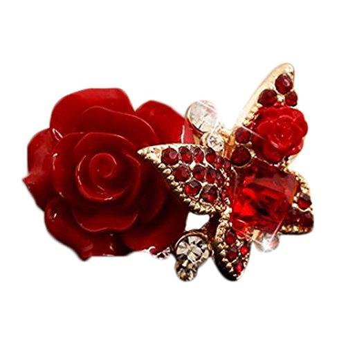 Demarkt - Anillos para Mujer, diseño de Rosa, Color Rojo