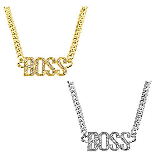 YUIP Goldkette BOSS, Hip Hop Rapper Halskette mit Buchstabe, Boss Anhänger Iced Out Halskette, perfekt zum Protzen beim Karneval & Fasching(2 Stücke)