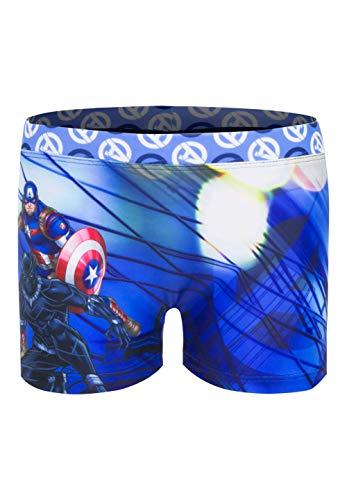 Avengers Badehose Badeshort Captain America & Black Panther, Farbe:Blau, Größe:128 (8 A)