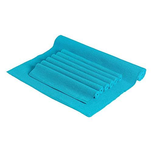 Nicola Spring Lot de 6 Sets de Table et 1 Chemin de Table - rectangulaire/en Coton côtelé - Bleu