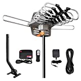 Digital Outdoor Amplified HD TV Antenna 150 Miles Long Range - Support 4K 1080p Fire Stick 2TVs with 360 Degree Rotation for All TVs - with Remote Control/32.8' Coax HDTV Cable/AC Adapter/J-Pole