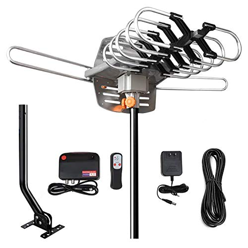 TV Antenna-Outdoor HD TV Antenna Amplified Digital Antenna 150 Miles Range,360 Degree Rotation Wireless Remote with J Mounting Pole,33 ft Coax Cable