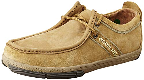 Woodland Men's Camel Leather Sneakers - 9 UK/India (43 EU)
