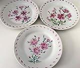 MaJe ceramista Set 3 platos esmaltado porcelana pintada a mano flores fucsia.