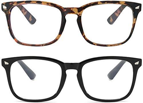 Pack de 2 Gafas Anti Luz Azul | Visión Anti-Reflejos | Unisex | Mantén el Patrón de Sueño y Evita el Cansancio Ocular para Videojuegos, Pantallas de Ordenador o Leer | Úsalo Con Dispositivos Digitales