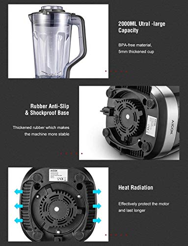 Standmixer-Smoothie-Maker-AICOK-32000-Umin-Smoothie-Blender-1500W-Mixer-Hochleistungsmixer-Schleifer-und-Eis-Zerkleinerungsmaschine-2L-Tritan-Behaelter-ohne-BPA