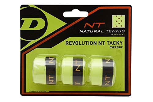 Dunlop Unisex-Adult 307088 NT Tacky Tennis Overgrip 3 Stück schwarz, Gelb, One Size