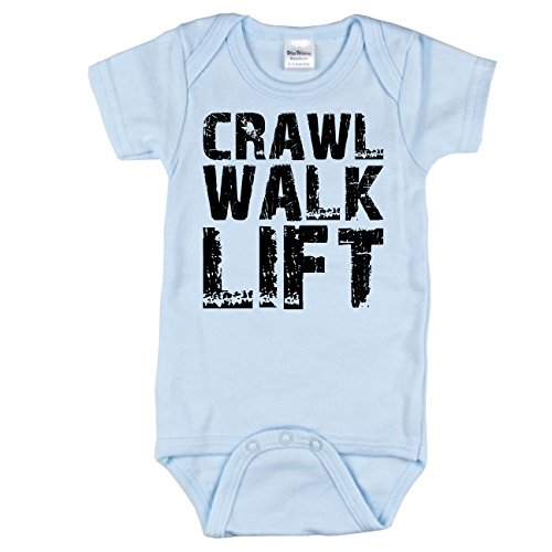 Nursery Decals and More Funny Weight Lifting Bodysuit, Crawl Walk Lift, Blue 0-3 mo