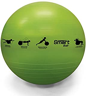 Prism Fitness 65cm, Green Smart Self-Guided Stability Ball – Exercise Ball for Exercise, Yoga, Pilates, Office Ball Chair and More, 13 Exercises Printed on Ball for Easy Reference