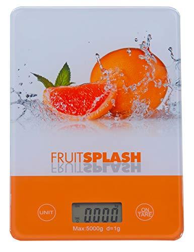 Báscula digital de cocina Pullach Hof con función de tara, botón para g, kg, lb, oz, diseño a elegir hasta 5 kg, colgador para pared (Blutorange)