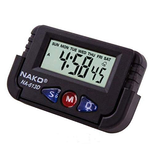DITCAFOS Nako Car Dashboard/Office Desk Alarm Clock and Stopwatch with Flexible Stand