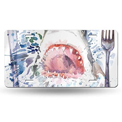 Doinh haaien met messen en vorken License Plate Gepersonaliseerde enkelzijdige drukplaat voor CarAluminum Novelty License Plates12x6inch