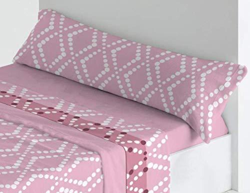 Trovador. Juego de sábanas de coralina. Cama de 135. Modelo Hydra. Color Rosa. 3 Piezas.